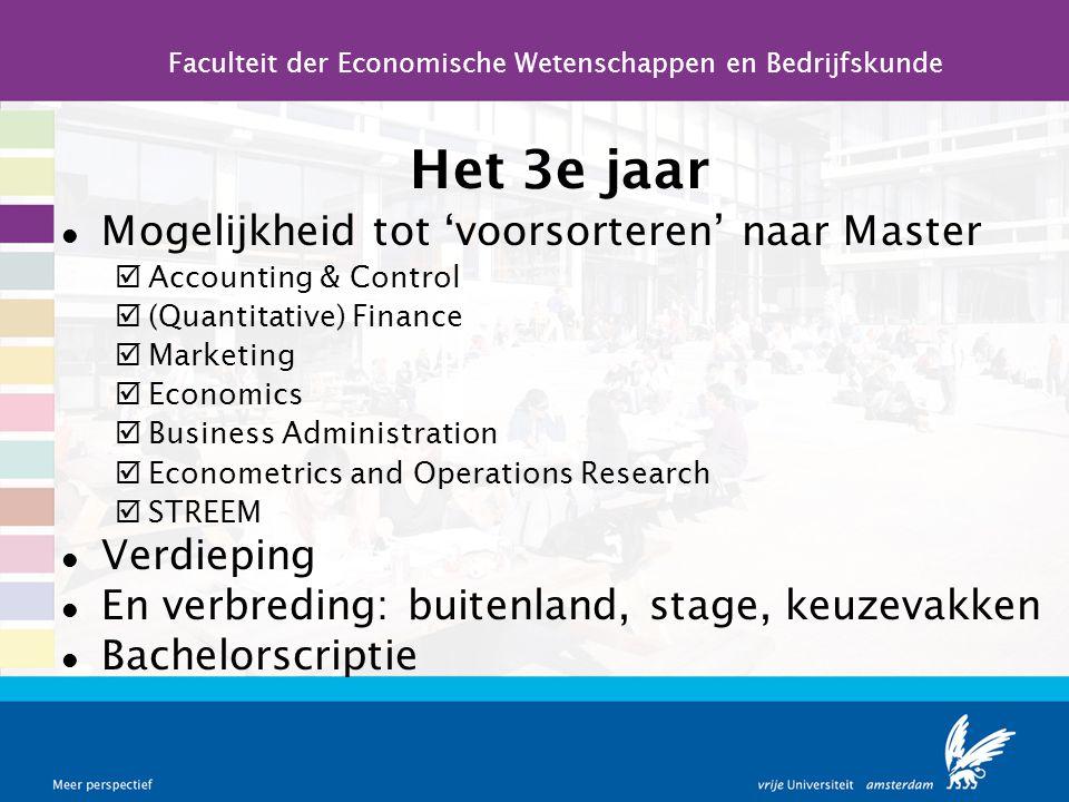 Het 3e jaar l Mogelijkheid tot 'voorsorteren' naar Master þAccounting & Control þ(Quantitative) Finance þMarketing þEconomics þBusiness Administration