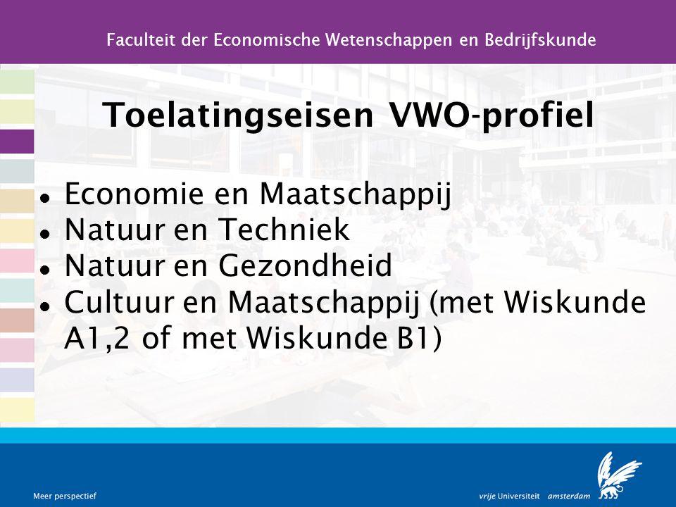 Toelatingseisen VWO-profiel Economie en Maatschappij Natuur en Techniek Natuur en Gezondheid Cultuur en Maatschappij (met Wiskunde A1,2 of met Wiskund