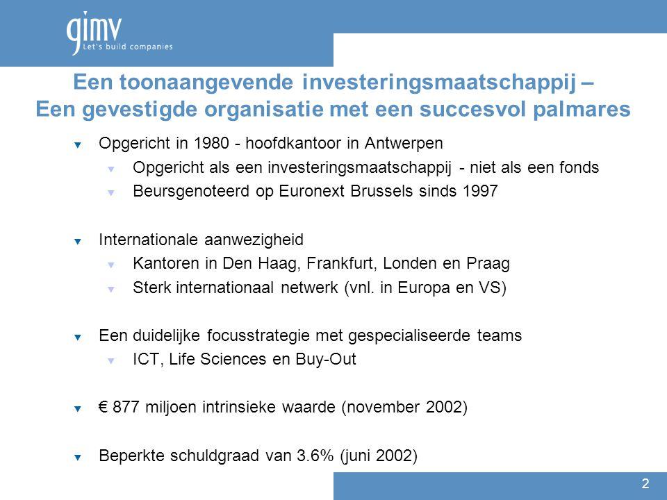 2 Een toonaangevende investeringsmaatschappij – Een gevestigde organisatie met een succesvol palmares  Opgericht in 1980 - hoofdkantoor in Antwerpen