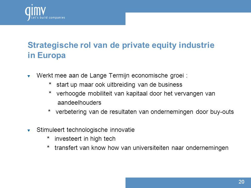 20 Strategische rol van de private equity industrie in Europa  Werkt mee aan de Lange Termijn economische groei : * start up maar ook uitbreiding van