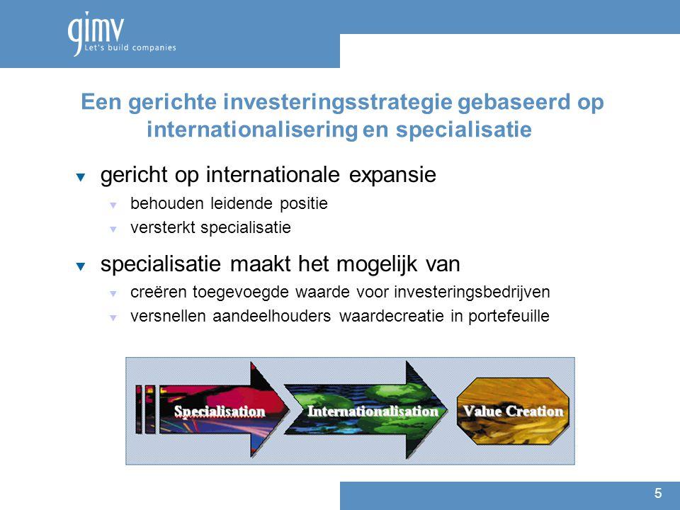 5 Een gerichte investeringsstrategie gebaseerd op internationalisering en specialisatie  gericht op internationale expansie  behouden leidende positie  versterkt specialisatie  specialisatie maakt het mogelijk van  creëren toegevoegde waarde voor investeringsbedrijven  versnellen aandeelhouders waardecreatie in portefeuille
