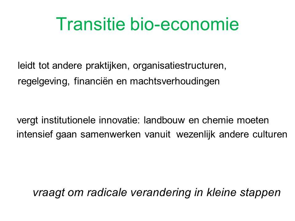 Transitie bio-economie leidt tot andere praktijken, organisatiestructuren, regelgeving, financiën en machtsverhoudingen vergt institutionele innovatie