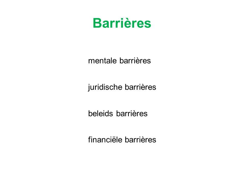 mentale barrières juridische barrières beleids barrières financiële barrières Barrières
