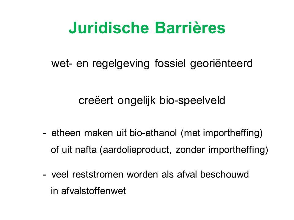 wet- en regelgeving fossiel georiënteerd creëert ongelijk bio-speelveld - etheen maken uit bio-ethanol (met importheffing) of uit nafta (aardolieprodu