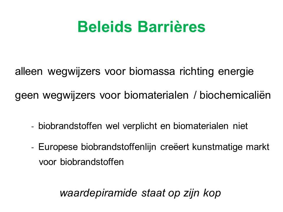 alleen wegwijzers voor biomassa richting energie geen wegwijzers voor biomaterialen / biochemicaliën - biobrandstoffen wel verplicht en biomaterialen
