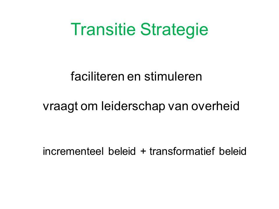 Transitie Strategie faciliteren en stimuleren vraagt om leiderschap van overheid incrementeel beleid + transformatief beleid