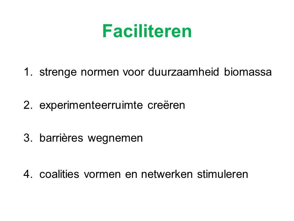 Faciliteren 1. strenge normen voor duurzaamheid biomassa 2. experimenteerruimte creëren 3. barrières wegnemen 4. coalities vormen en netwerken stimule