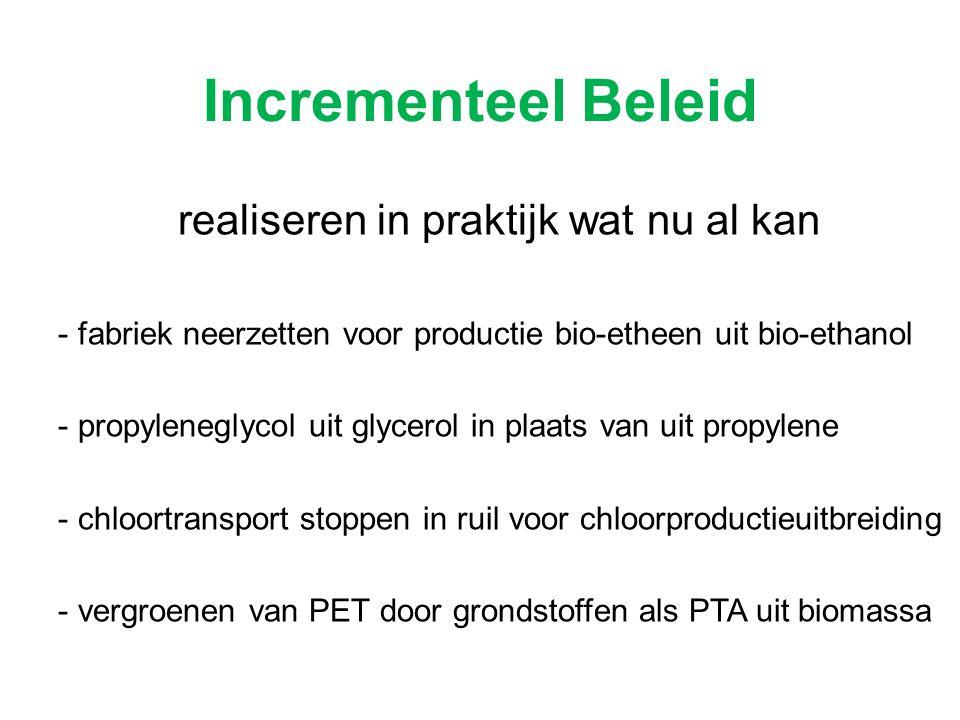 Incrementeel Beleid realiseren in praktijk wat nu al kan - fabriek neerzetten voor productie bio-etheen uit bio-ethanol - propyleneglycol uit glycerol