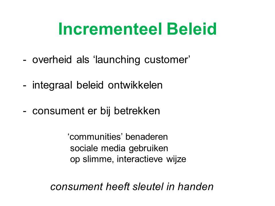 Incrementeel Beleid - overheid als 'launching customer' - integraal beleid ontwikkelen - consument er bij betrekken 'communities' benaderen sociale me