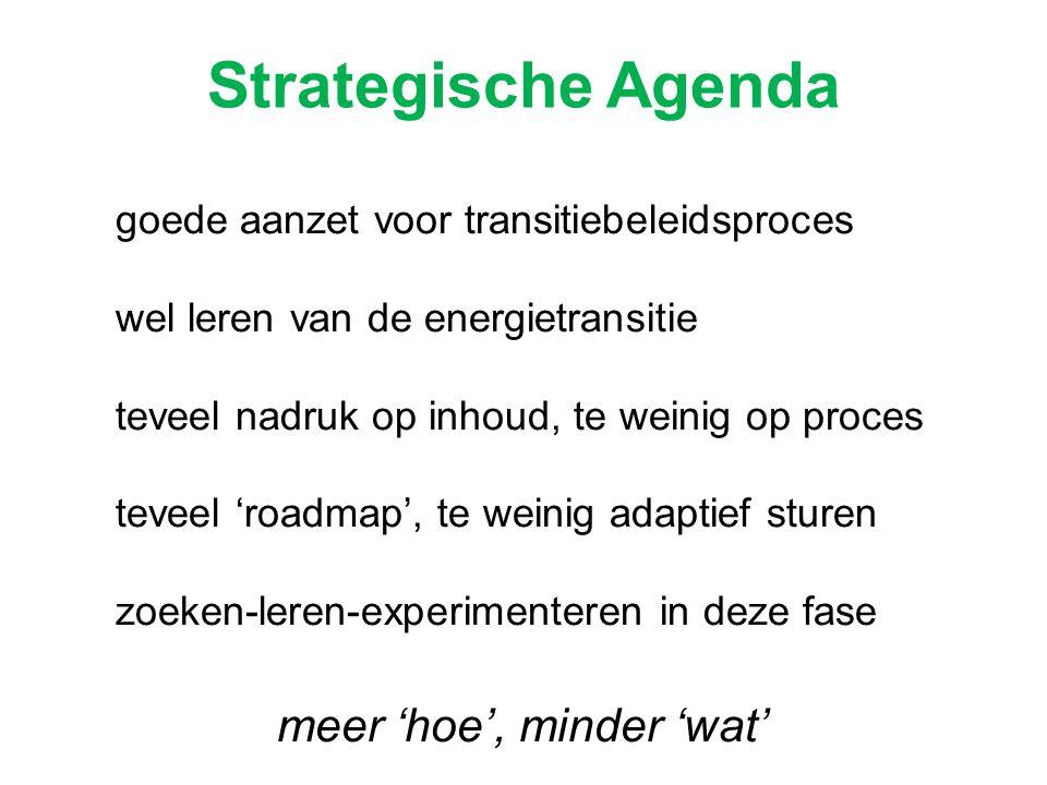 Strategische Agenda goede aanzet voor transitiebeleidsproces wel leren van de energietransitie teveel nadruk op inhoud, te weinig op proces teveel 'ro