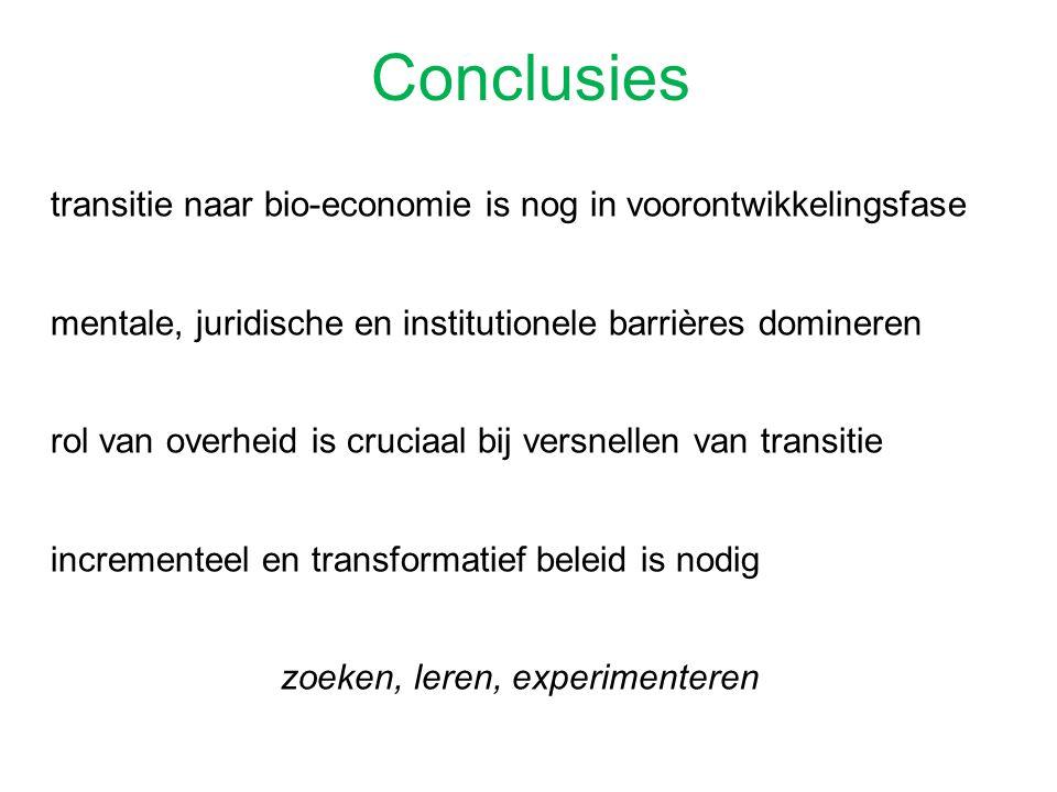 transitie naar bio-economie is nog in voorontwikkelingsfase mentale, juridische en institutionele barrières domineren rol van overheid is cruciaal bij