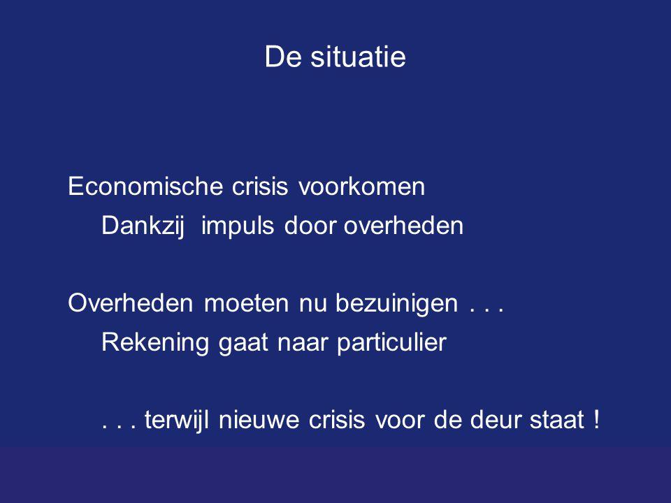 De situatie Economische crisis voorkomen Dankzij impuls door overheden Overheden moeten nu bezuinigen...