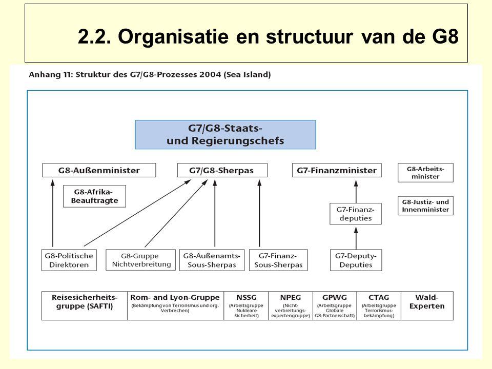 2.2. Organisatie en structuur van de G8