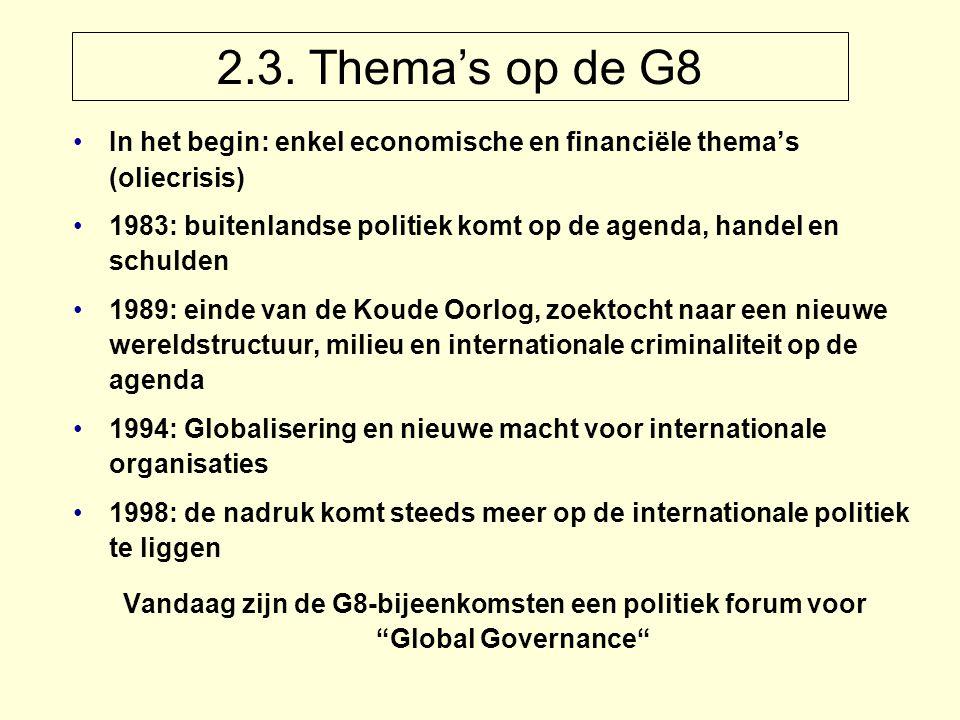 2.3. Thema's op de G8 In het begin: enkel economische en financiële thema's (oliecrisis) 1983: buitenlandse politiek komt op de agenda, handel en schu