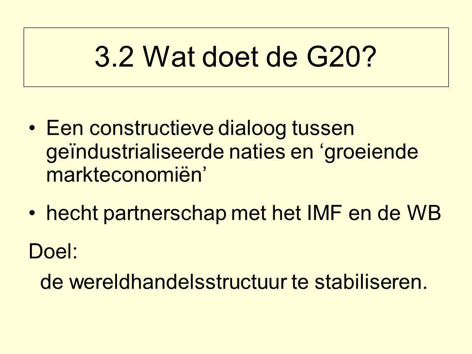 Een constructieve dialoog tussen geïndustrialiseerde naties en 'groeiende markteconomiën' hecht partnerschap met het IMF en de WB Doel: de wereldhandelsstructuur te stabiliseren.