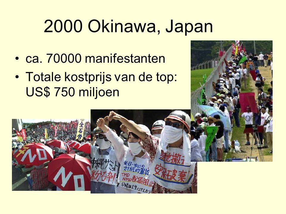 2000 Okinawa, Japan ca. 70000 manifestanten Totale kostprijs van de top: US$ 750 miljoen