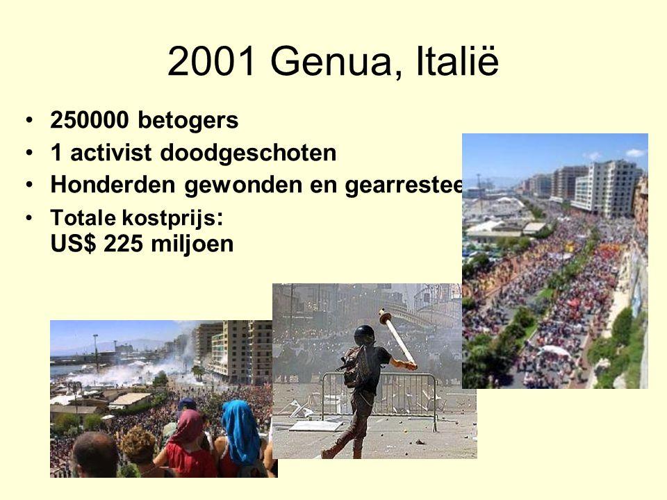 2001 Genua, Italië 250000 betogers 1 activist doodgeschoten Honderden gewonden en gearresteerden Totale kostprijs : US$ 225 miljoen