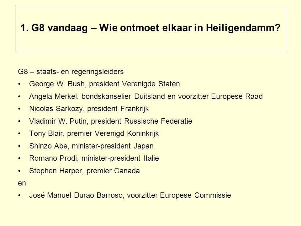 1. G8 vandaag – Wie ontmoet elkaar in Heiligendamm.