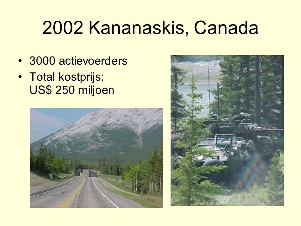 2002 Kananaskis, Canada 3000 actievoerders Total kostprijs: US$ 250 miljoen