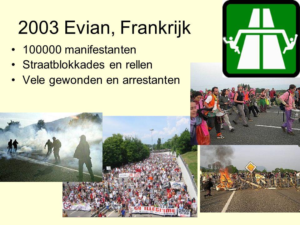 2003 Evian, Frankrijk 100000 manifestanten Straatblokkades en rellen Vele gewonden en arrestanten