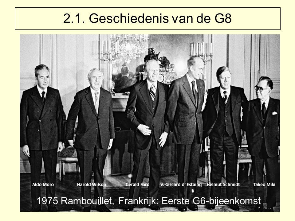 2.1. Geschiedenis van de G8 1975 Rambouillet, Frankrijk: Eerste G6-bijeenkomst