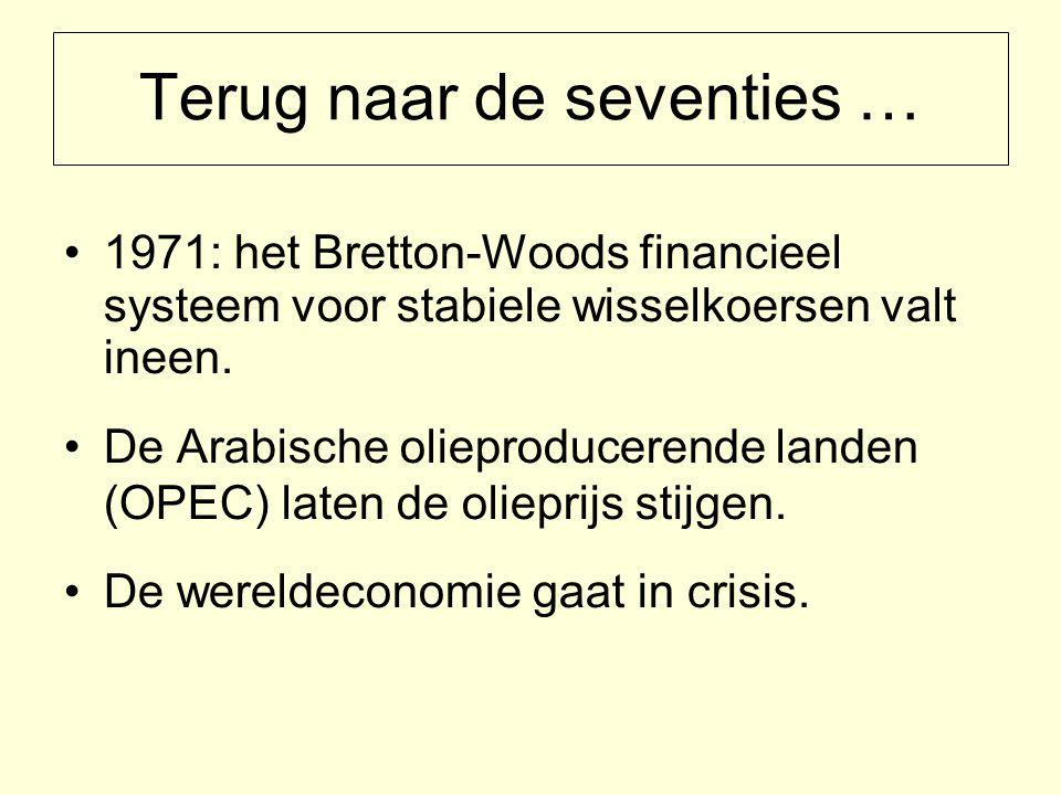 Terug naar de seventies … 1971: het Bretton-Woods financieel systeem voor stabiele wisselkoersen valt ineen.