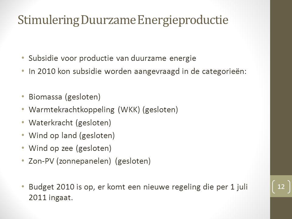 Stimulering Duurzame Energieproductie Subsidie voor productie van duurzame energie In 2010 kon subsidie worden aangevraagd in de categorieën: Biomassa (gesloten) Warmtekrachtkoppeling (WKK) (gesloten) Waterkracht (gesloten) Wind op land (gesloten) Wind op zee (gesloten) Zon-PV (zonnepanelen) (gesloten) Budget 2010 is op, er komt een nieuwe regeling die per 1 juli 2011 ingaat.