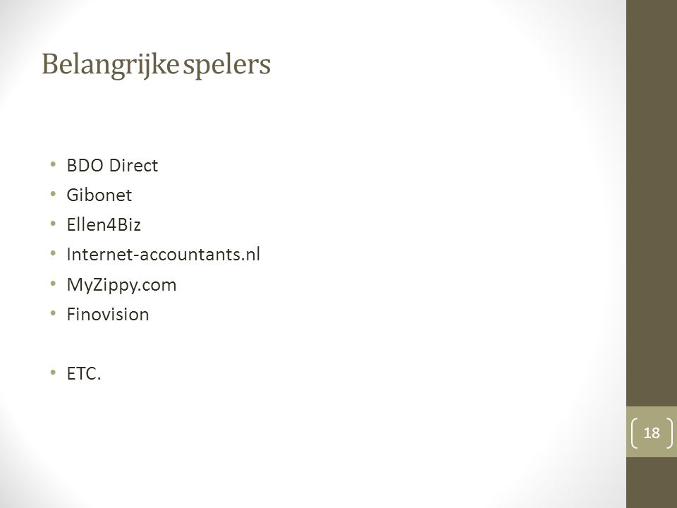 Belangrijke spelers BDO Direct Gibonet Ellen4Biz Internet-accountants.nl MyZippy.com Finovision ETC.
