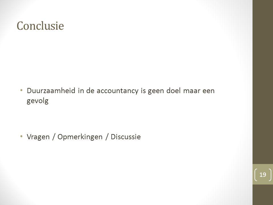 Conclusie Duurzaamheid in de accountancy is geen doel maar een gevolg Vragen / Opmerkingen / Discussie 19