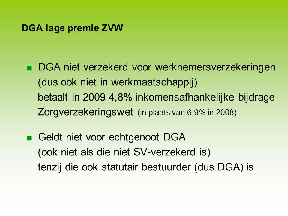 DGA B: salaris 70 k, fee 100 k - LB in PH en LB én wn- verzekeringen in Werk-BV - Geen doorbetaaldloonregeling - Géén VAR A B 100% 4% Werk-BV PH DGA A