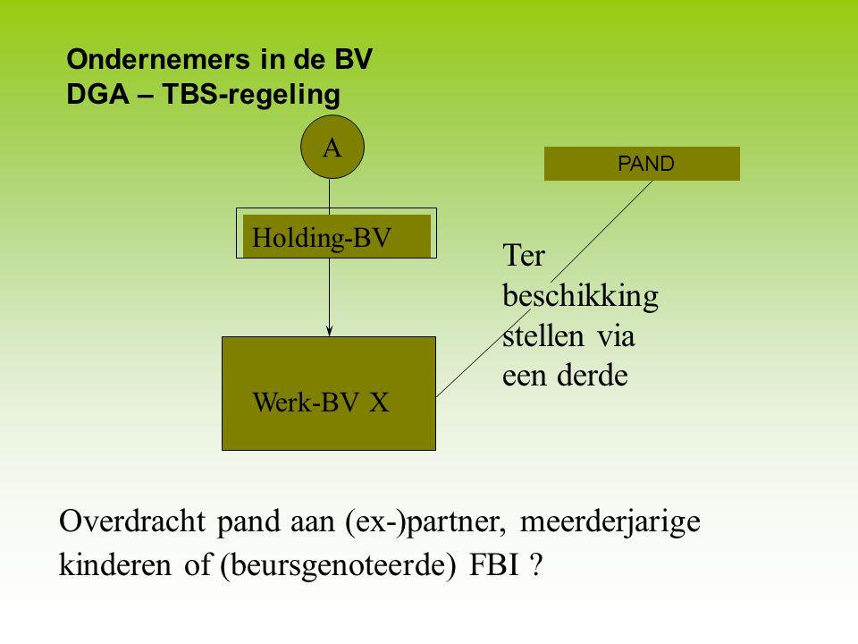 Ondernemers in de BV DGA – TBS-regeling A Werk-BV X Verhuur pand aan eigen BV of aan derden Pand € 1 mln, huur € 100.000 per jaar Fiscale schade € 40.