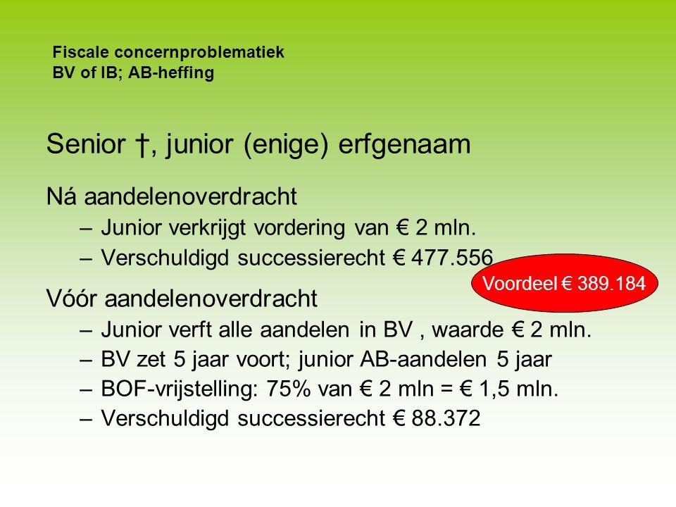 Fiscale concernproblematiek BV of IB; AB-heffing Overdracht AB-aandelen Senior Junior WERK-BV Holding Schuldig gebleven koopsom van € 2 mln F.E.