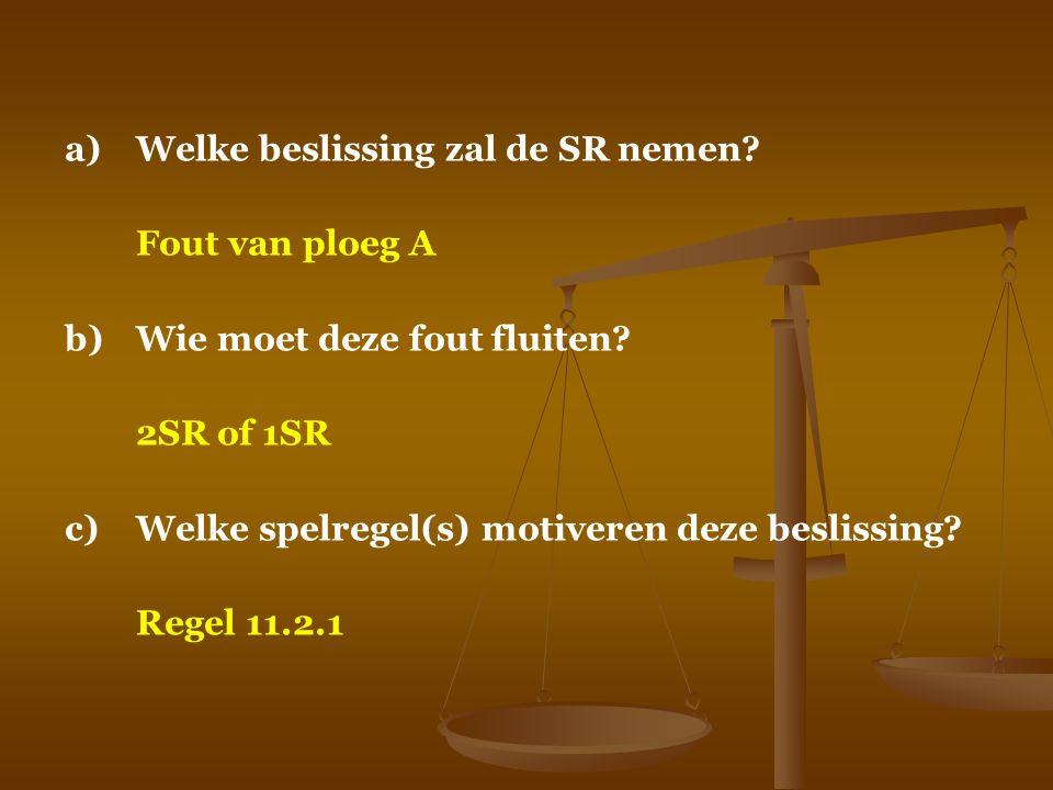 a)Welke beslissing zal de SR nemen? Fout van ploeg A b)Wie moet deze fout fluiten? 2SR of 1SR c)Welke spelregel(s) motiveren deze beslissing? Regel 11