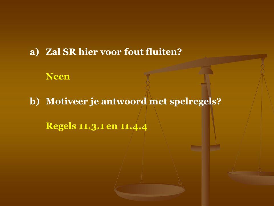 a)Zal SR hier voor fout fluiten? Neen b)Motiveer je antwoord met spelregels? Regels 11.3.1 en 11.4.4