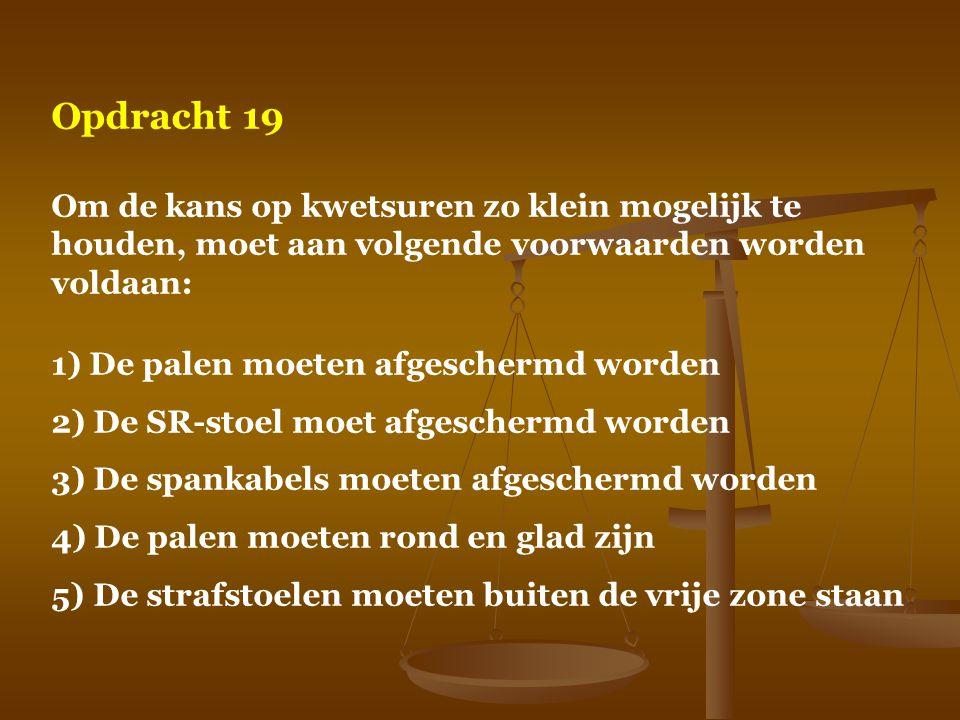 Opdracht 19 Om de kans op kwetsuren zo klein mogelijk te houden, moet aan volgende voorwaarden worden voldaan: 1) De palen moeten afgeschermd worden 2