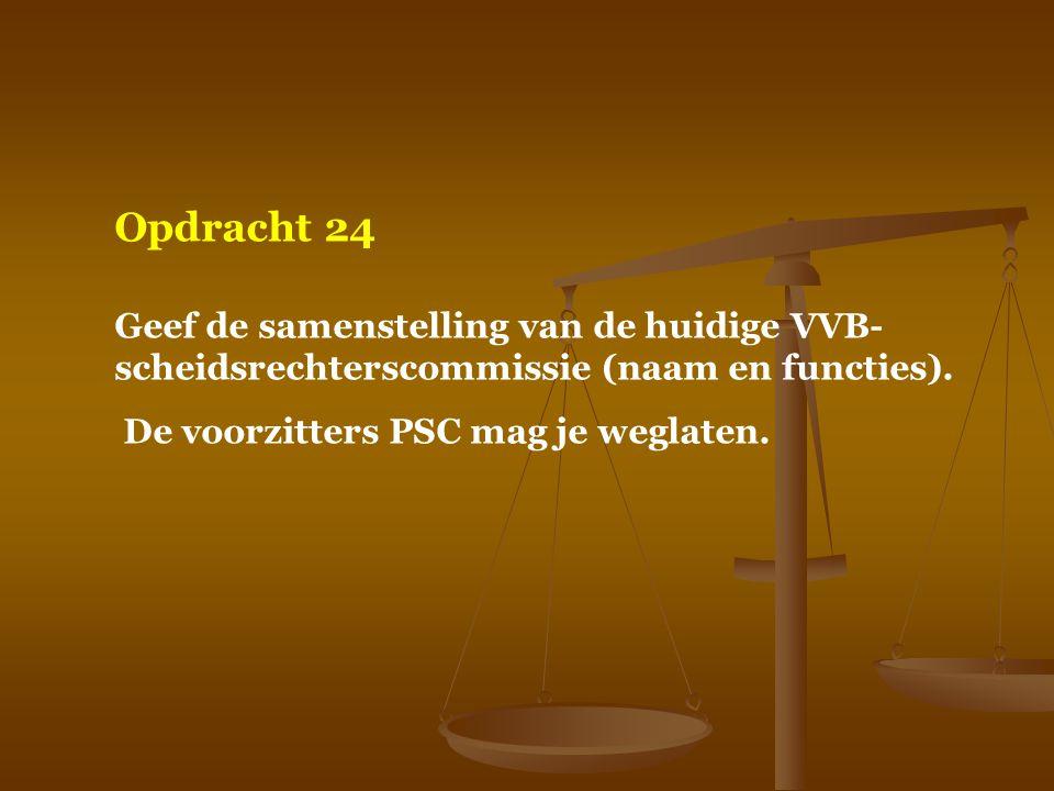 Opdracht 24 Geef de samenstelling van de huidige VVB- scheidsrechterscommissie (naam en functies). De voorzitters PSC mag je weglaten.