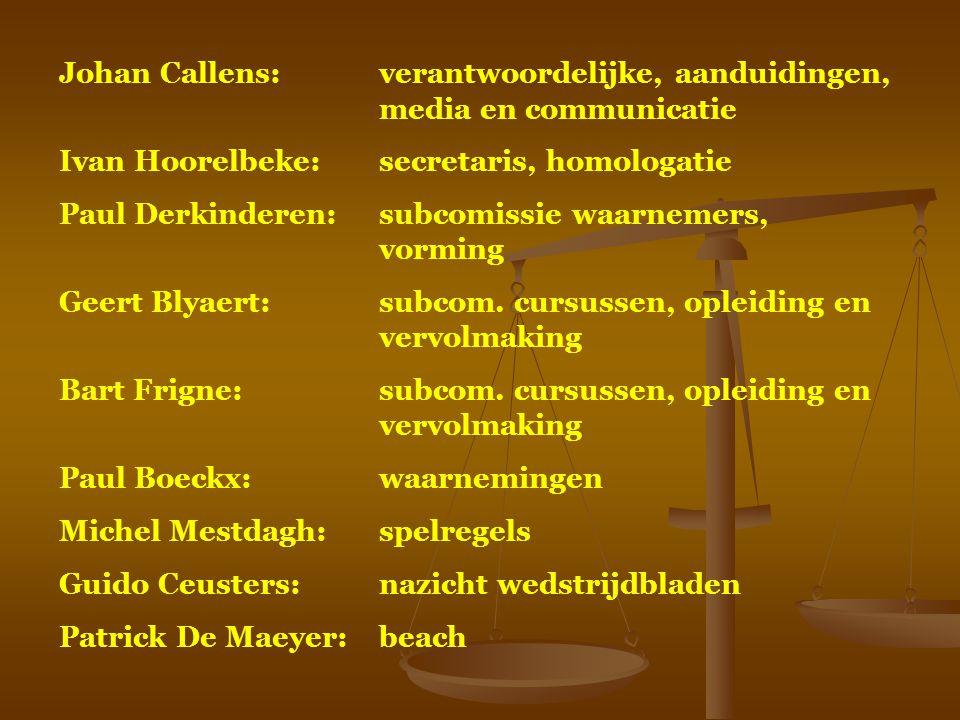 Johan Callens:verantwoordelijke, aanduidingen, media en communicatie Ivan Hoorelbeke:secretaris, homologatie Paul Derkinderen:subcomissie waarnemers,