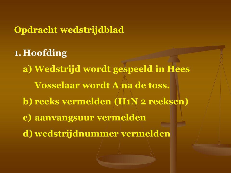 Opdracht wedstrijdblad 1.Hoofding a) Wedstrijd wordt gespeeld in Hees Vosselaar wordt A na de toss. b)reeks vermelden (H1N 2 reeksen) c)aanvangsuur ve