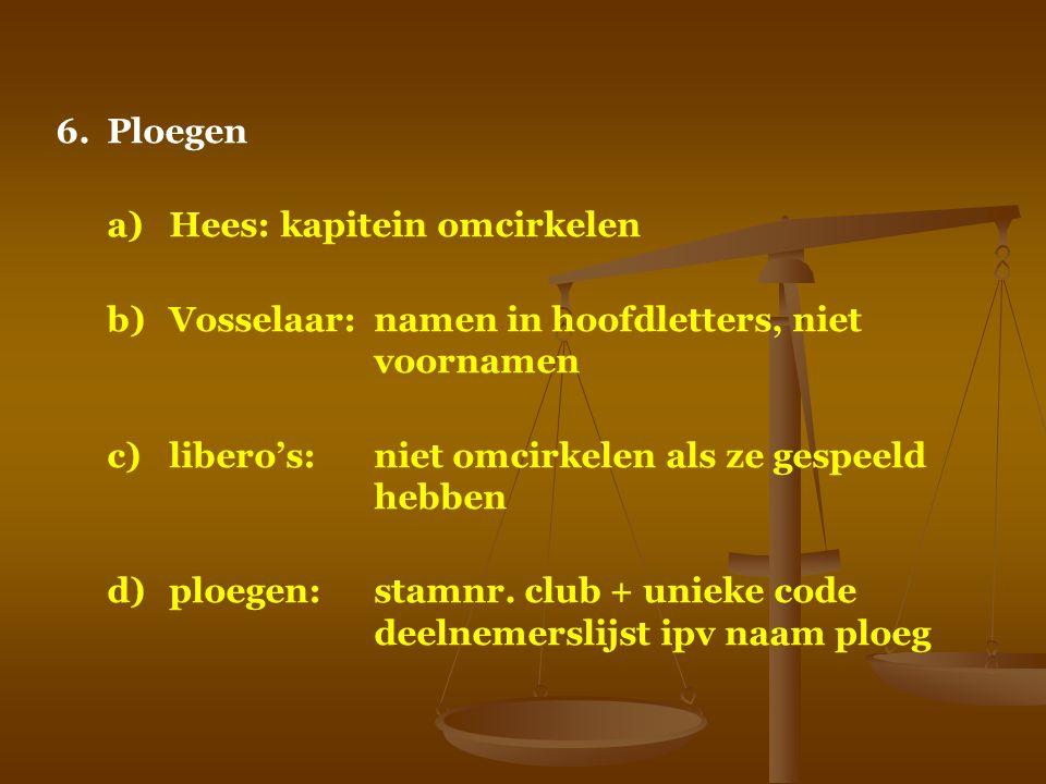 6.Ploegen a)Hees: kapitein omcirkelen b)Vosselaar:namen in hoofdletters, niet voornamen c)libero's:niet omcirkelen als ze gespeeld hebben d)ploegen:st