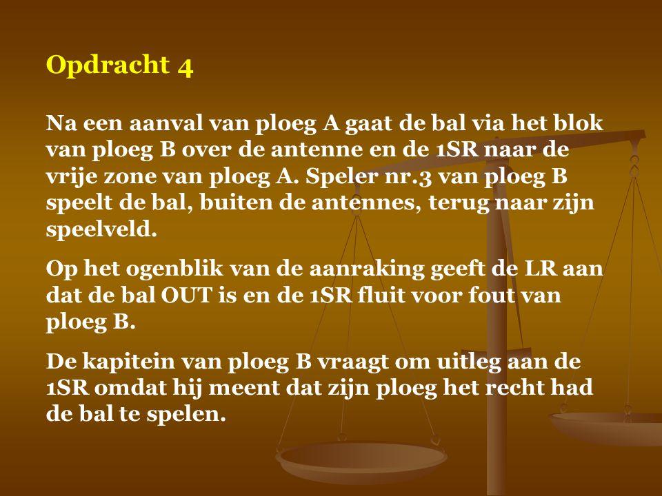 Opdracht 4 Na een aanval van ploeg A gaat de bal via het blok van ploeg B over de antenne en de 1SR naar de vrije zone van ploeg A. Speler nr.3 van pl
