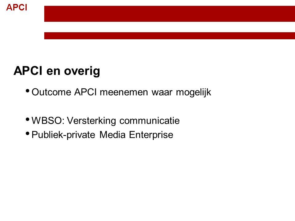 APCI Topteam Creatieve Industrie Randvoorwaarden; 15 november 2012 11 APCI en overig Outcome APCI meenemen waar mogelijk WBSO: Versterking communicati