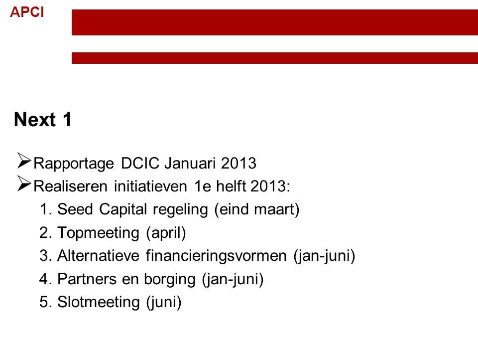 APCI Topteam Creatieve Industrie Randvoorwaarden; 15 november 2012 12 Next 1  Rapportage DCIC Januari 2013  Realiseren initiatieven 1e helft 2013: 1