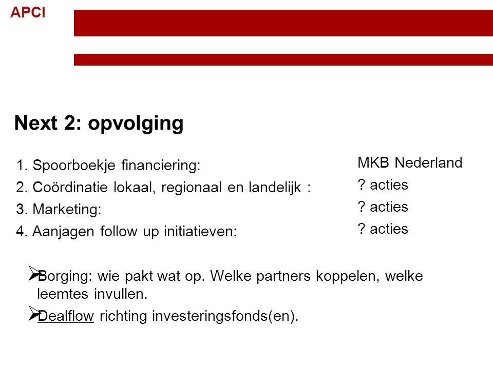 APCI Topteam Creatieve Industrie Randvoorwaarden; 15 november 2012 13 Next 2: opvolging 1. Spoorboekje financiering: 2. Coördinatie lokaal, regionaal