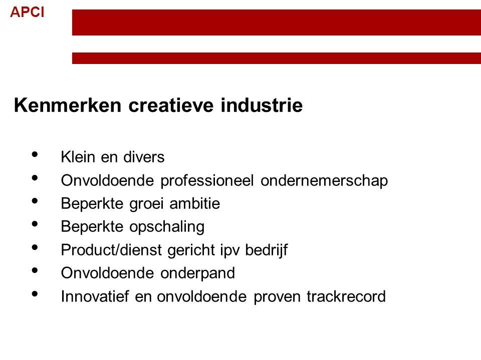 APCI Kenmerken creatieve industrie Klein en divers Onvoldoende professioneel ondernemerschap Beperkte groei ambitie Beperkte opschaling Product/dienst