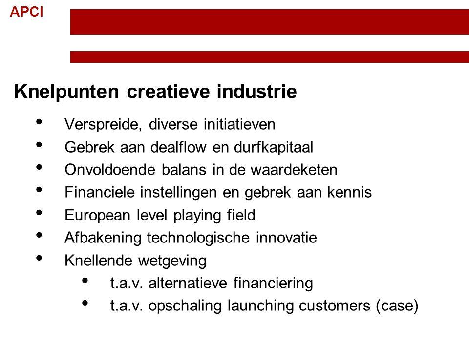APCI Knelpunten creatieve industrie Verspreide, diverse initiatieven Gebrek aan dealflow en durfkapitaal Onvoldoende balans in de waardeketen Financie
