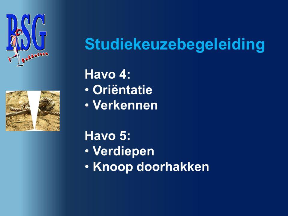 Havo 4: Oriëntatie Verkennen Havo 5: Verdiepen Knoop doorhakken Studiekeuzebegeleiding