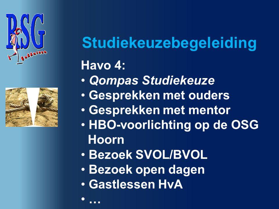 Havo 4: Qompas Studiekeuze Gesprekken met ouders Gesprekken met mentor HBO-voorlichting op de OSG Hoorn Bezoek SVOL/BVOL Bezoek open dagen Gastlessen