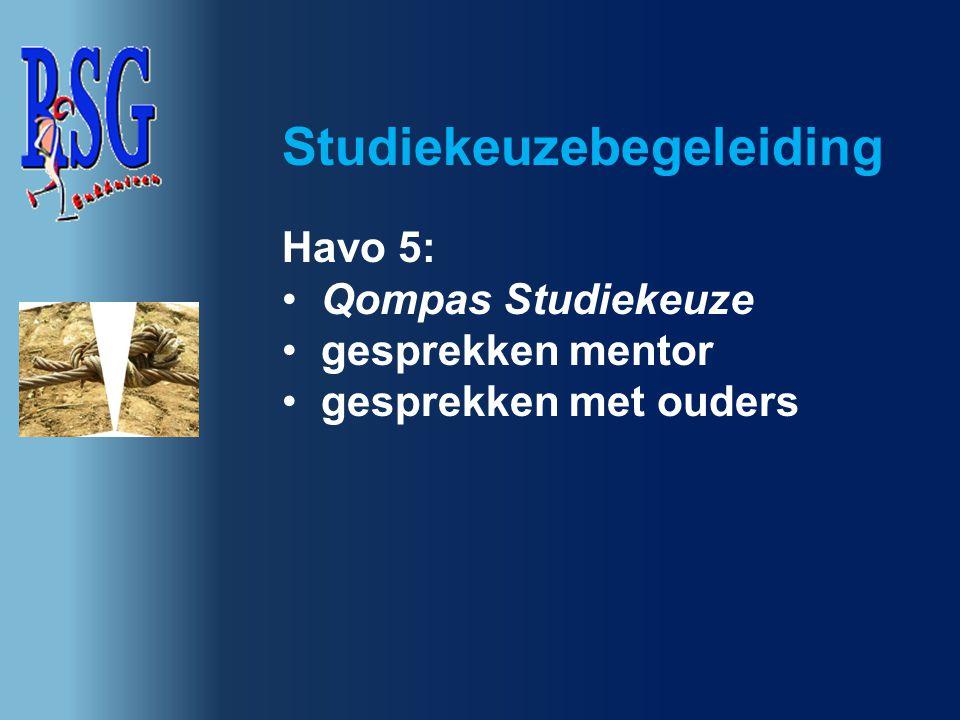 Havo 5: Qompas Studiekeuze gesprekken mentor gesprekken met ouders Studiekeuzebegeleiding