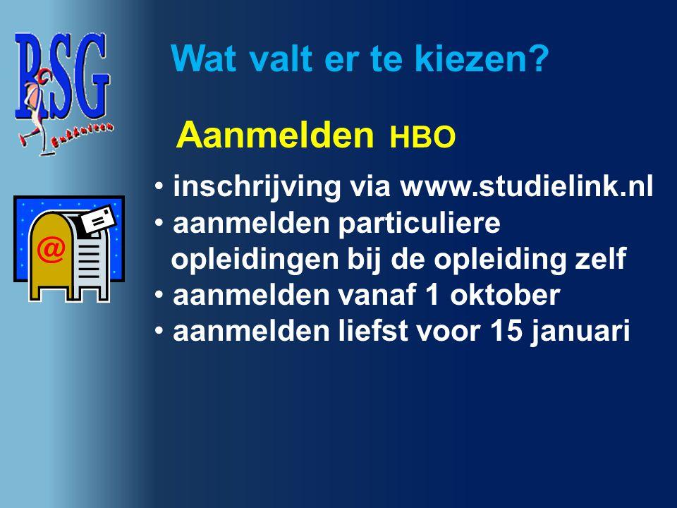 inschrijving via www.studielink.nl aanmelden particuliere opleidingen bij de opleiding zelf aanmelden vanaf 1 oktober aanmelden liefst voor 15 januari
