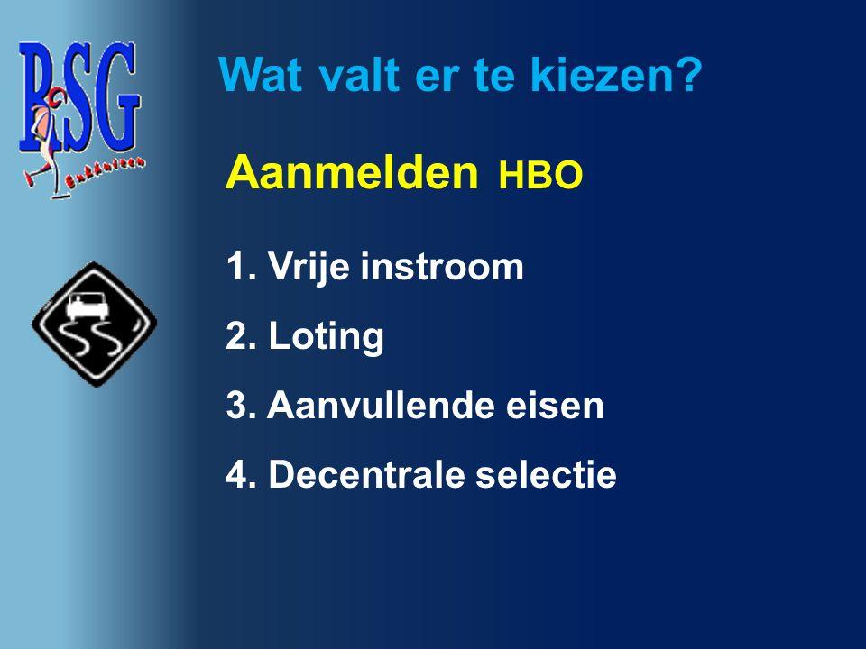 Wat valt er te kiezen? Aanmelden HBO 1. Vrije instroom 2. Loting 3. Aanvullende eisen 4. Decentrale selectie